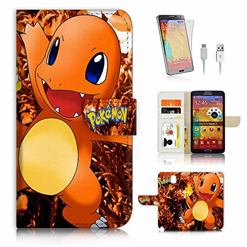 Samsung Galaxy Note 3 Flip Wallet Case Cover & Screen Protector & Charging Cable Bundle! A4203 Pokemon charmander