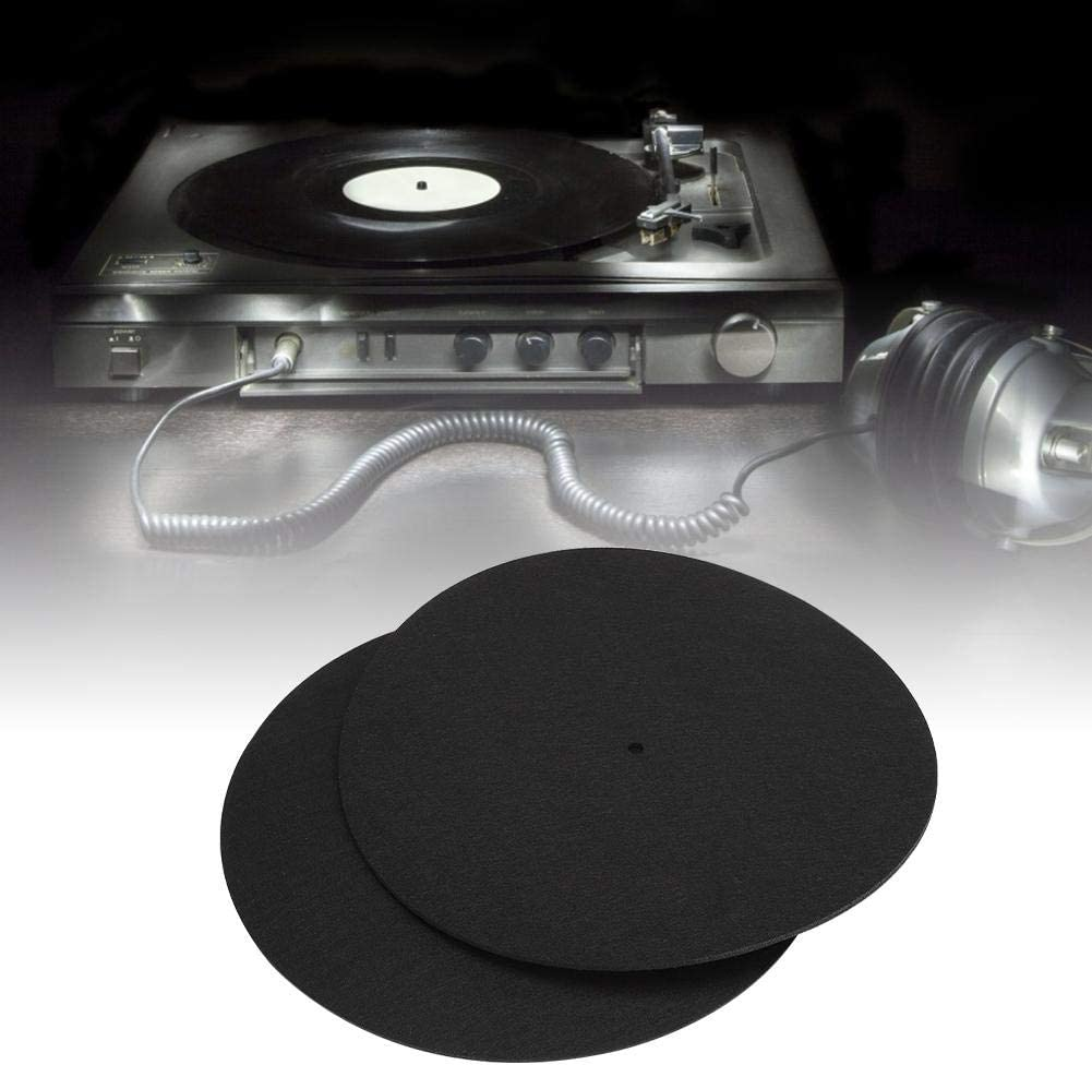 Alfombrilla para Discos de Vinilo 2 Piezas Reproductores de Discos de Vinilo de 12 Pulgadas Tocadiscos para el hogar Disco Protector Alfombrilla Antideslizante Reemplazo Accesorios