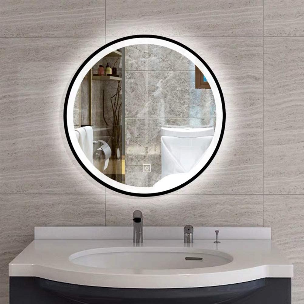 """ConPush 20"""" Round Mirror Vanity Backlit Mirror with Led Lights Dimmable Touch Switch Wall Mounted Makeup Mirror for Bathroom Bedroom(20x20'' Black)"""