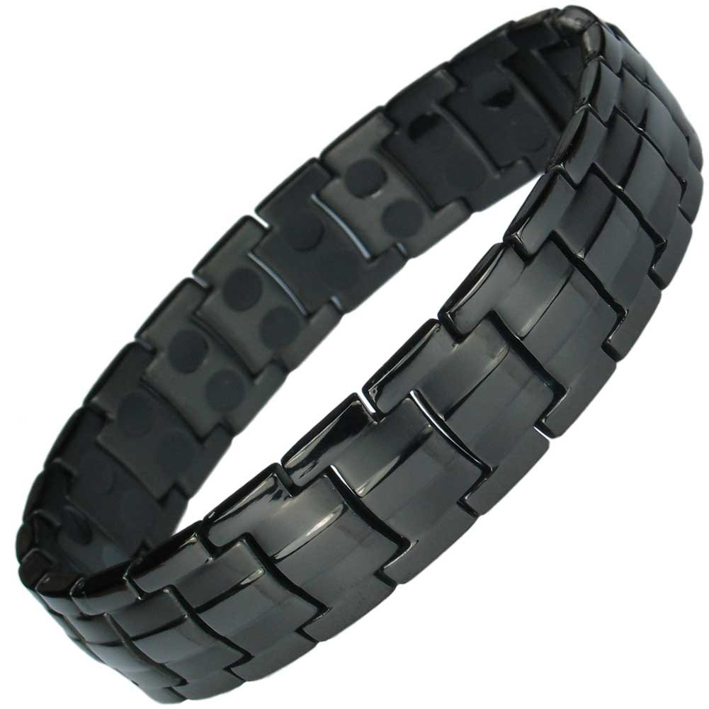 IonTopia Hermes Titanium Magnetic Therapy Bracelet Black with Free Links Removal Tool