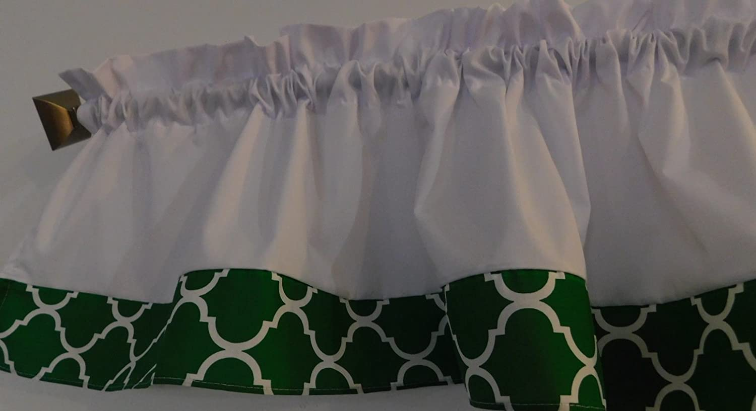 Valance Kelly green and white Trellis Window curtain / Kitchen, Bath, Laundry, Camper, RV, basement, kids playrooms, dorm, Bedroom , daycare schools, qua-trefoil Moroccan , 57