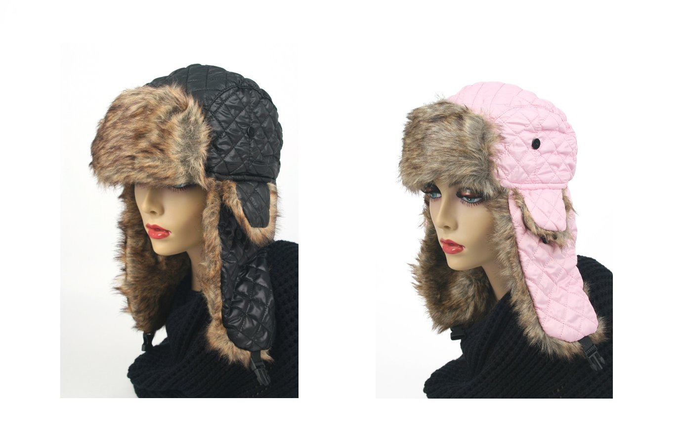 Pop Fashionwear Women's Trapper Quilted Winter Ear Flap Hat 901HT (2 pcs Black & Pink)