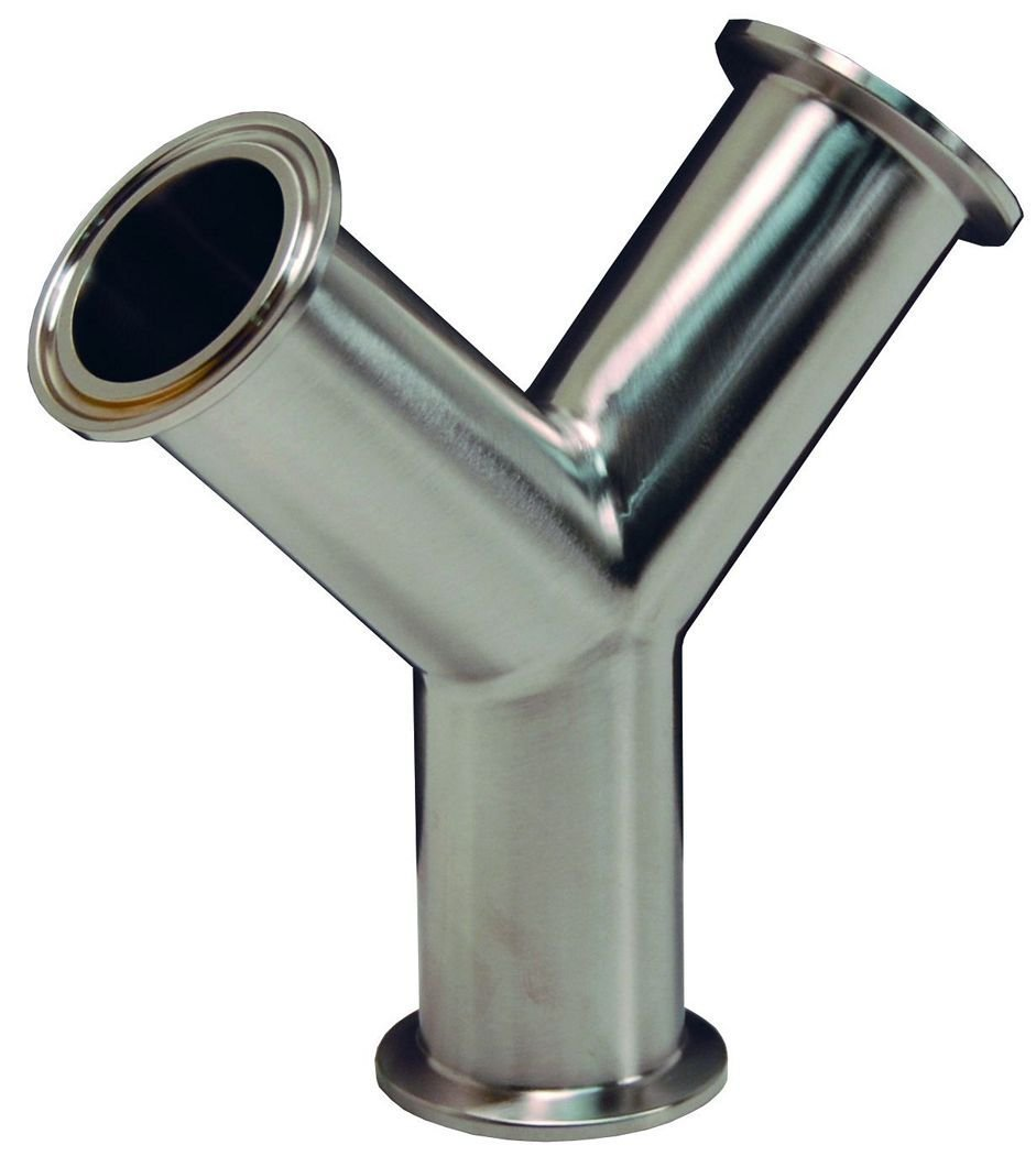 Dixon B28BMP-R150 Stainless Steel 316L Sanitary Fitting, Clamp True Y, 1-1/2'' Tube OD