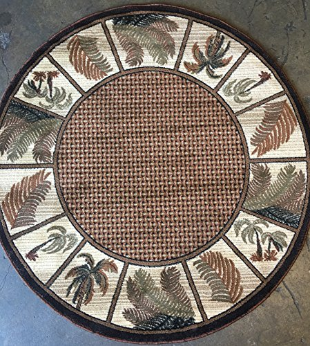 Modern Round Area Rug 500,000 Point Oasis Tropical Palm Tree Design 1 (7 feet 8 inches X 7 feet 8 inches Round)
