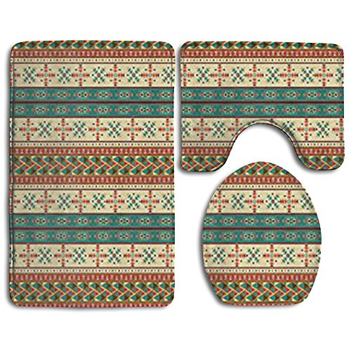 (Guiping Ethnic Seamless Tile With Navaho Pattern Bathroom Rug Mats Set 3 Piece,Funny Bathroom Rugs Graphic Bathroom Sets,Anti-skid Toilet Mat Set)