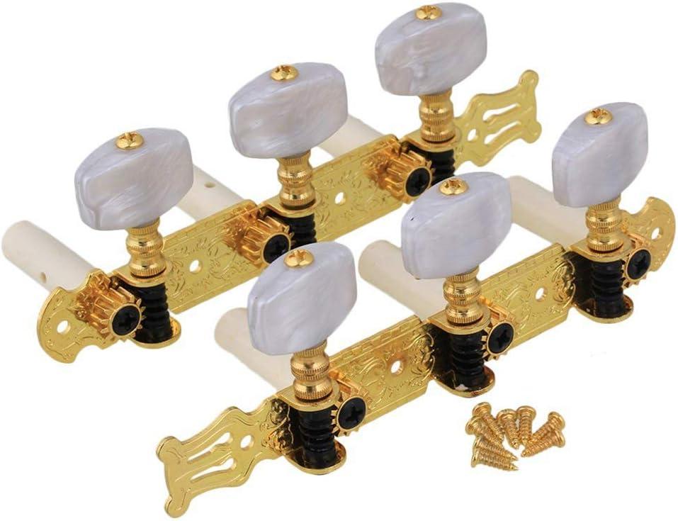 Clavijas de afinación para guitarra clásica de 3 + 3 clavijas de afinación para guitarra clásica de flamenco, color de micrófono, botones de cuerda rectangulares de plástico