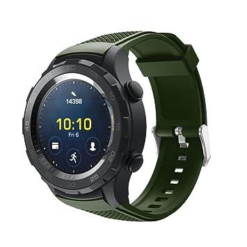 samLIKE Bracelet de montre de rechange en silicone souple pour Huawei Watch 2, Armeegrün