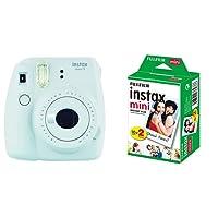 Fujifilm Instax Mini 9 Fotocamera Istantanea per Foto Formato 62x46 mm, Bianco (Smokey White) + Instax Mini Film Pellicola Istantanea per Fotocamere Instax Mini, Formato 46x62 mm, Confezione da 20 Foto