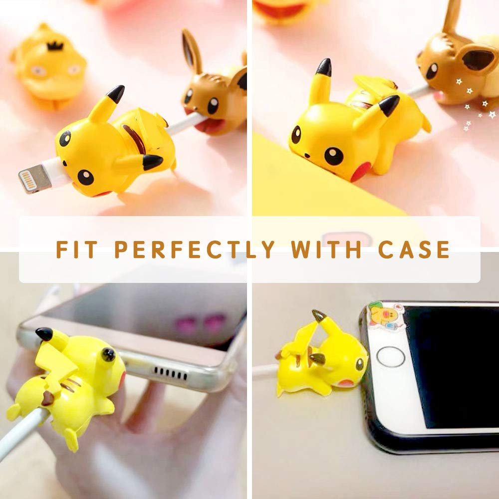 Cute Anime Bite Cable Protector - 6 PCS (Pikachu,Eevee,Piplup,Psyduck,Meowth,Snoelax) Charger Pet,Cable Buddy(Compatible with iPhone Cords Only),Gift Fit Friends & Children by WAIN
