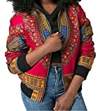 LD Womens Sexy Zip Up Africa Print Dashiki Pockets Short Jacket Coat Outerwear Red XS