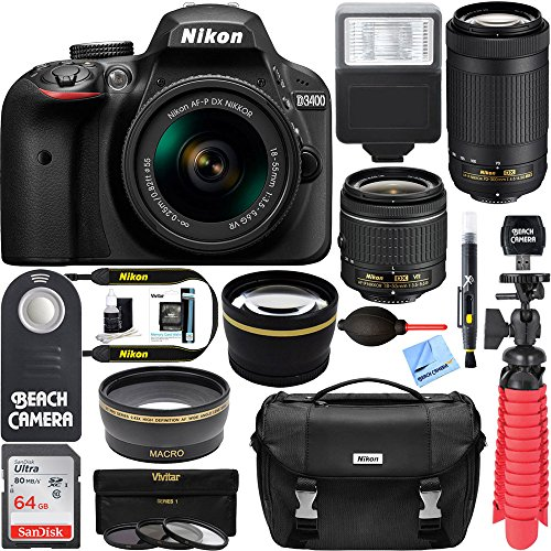 Nikon D3400 24.2 MP DSLR Camera + AF-P DX 18-55mm & 70-300mm NIKKOR Zoom Lens Kit + 64GB Memory Bundle + Nikon Photo Bag + Wide Angle Lens + 2x Telephoto Lens + Flash + Remote +Tripod+Filters (Black) by Beach Camera