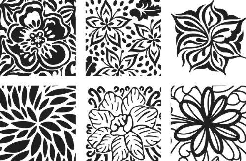 (Cedar Canyon Textiles CCT4005 Artist's Paintstiks Rubbing Plates, Floral Fantasy, 6-Pack)