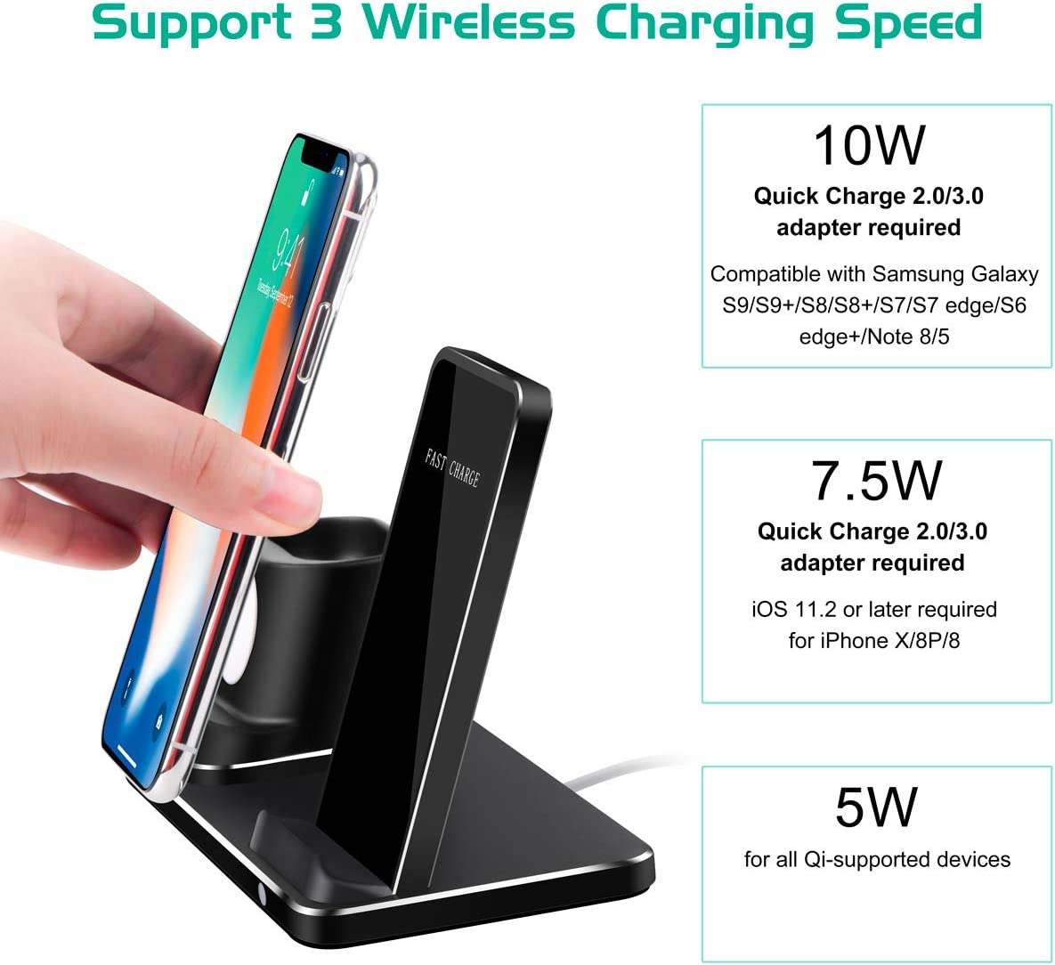Wireless Charger Stand Pad Docks Station Holder Desktop Charging Stand for Apple iWatch Series 4//3// 2// iPhone 11 Pro Max//X//XS//XS MAX// 8+// 8// Airpods 2//1-Black Kuvcco Wireless Charging Stand
