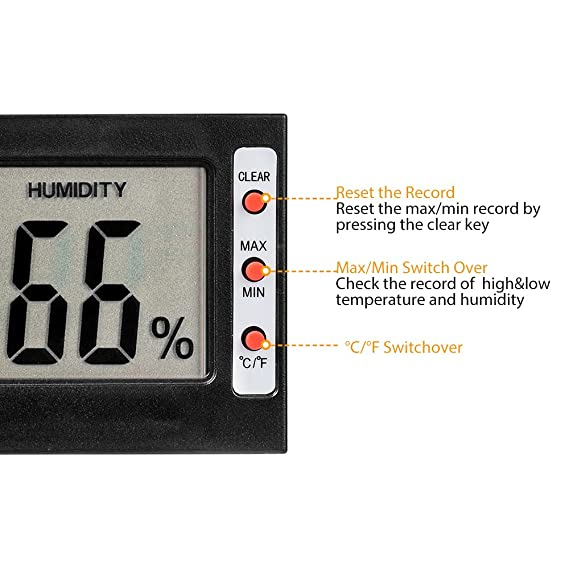 Amazon.com: TOP-MAX Mini Thermometer Digital Temperature Humidity Meter Gauge Hygrometer LCD Screen Works in Celsius Fahrenheit Black Indoor Use: Garden & ...