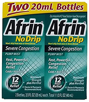 Afrin No Drip Severe Congestion Pump Mist Nasal Spray 12 Hour relief 20 mL Bottle (Pack of 2)