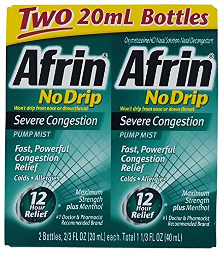 Afrin No Drip Severe Congestion Pump Mist Nasal Spray 12 Hour relief 20 mL Bottle (Pack of 2) 61PL26FbwpL