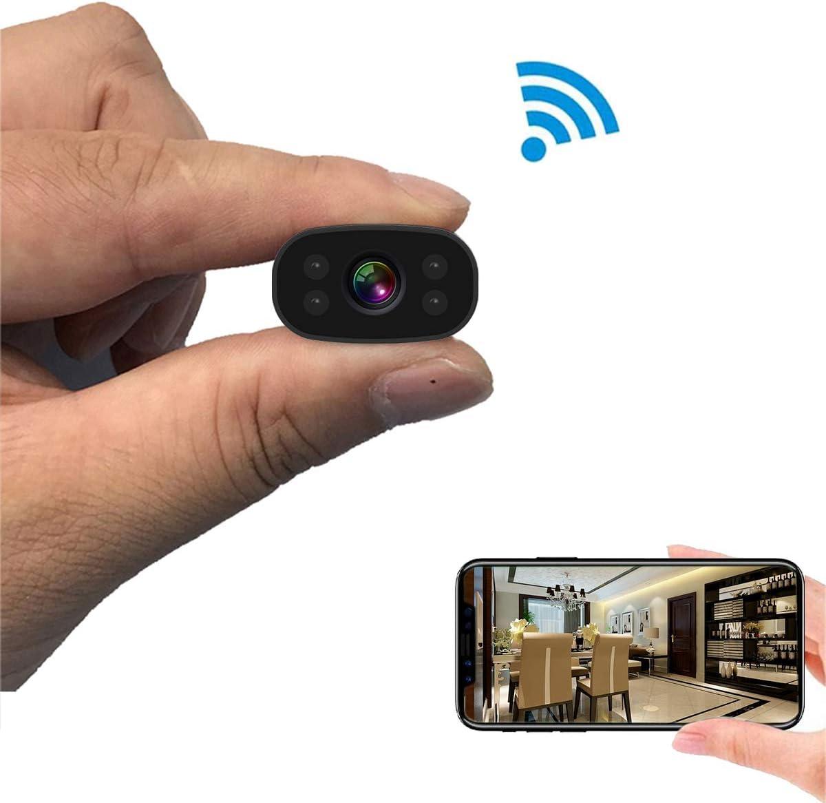 Amazon Com Pnzeo Mini Cámara Oculta 1080p Hd Cámara De Video Grabadora De Vídeo Ip Pequeña 150 ángulo De Visión Amplio Inalámbrica Wifi Cámara Espía De Seguridad Cámara De Visión Remota Detección De