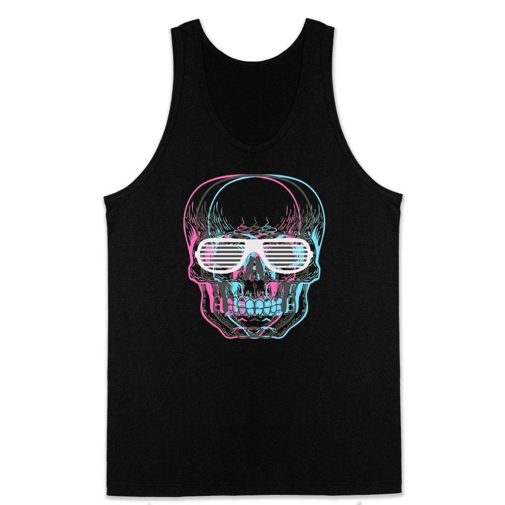 Pop Threads Skull with Shutter Sunglasses Black XL Mens Tank Top