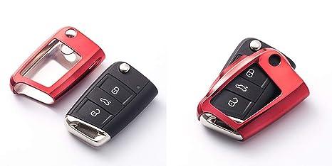 OSAYES Llave Mando Funda TPU Auto Titular Caso para Volkswagen VW Golf 7 MK7 Seat Ibiza Leon FR 2 Altea Aztec para Skoda Octavia