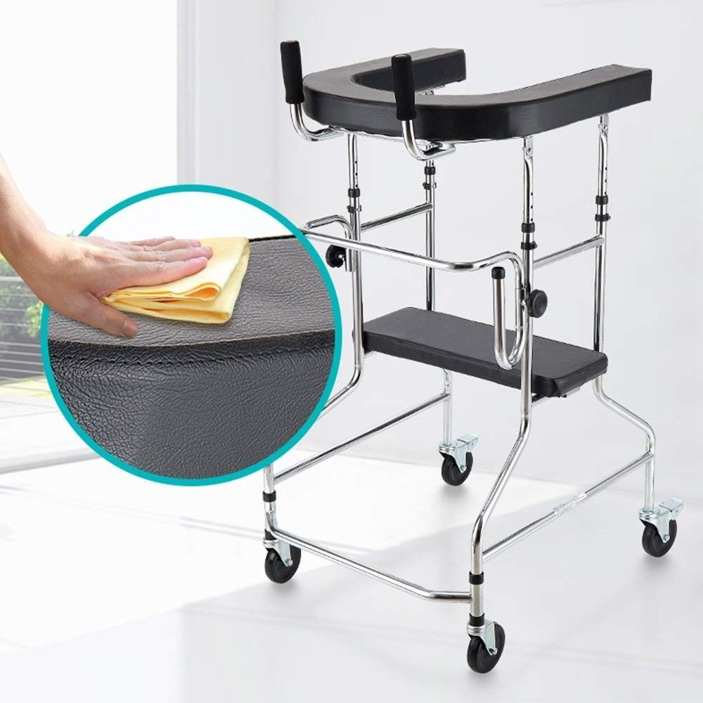 Aluminum Alloy Folding Walker with Armrest Pad and Wheel Limited Movement Aid for Elderly Disabled Persons with Standard Walker Auxiliary Walking Safety Walker by YL WALKER (Image #4)