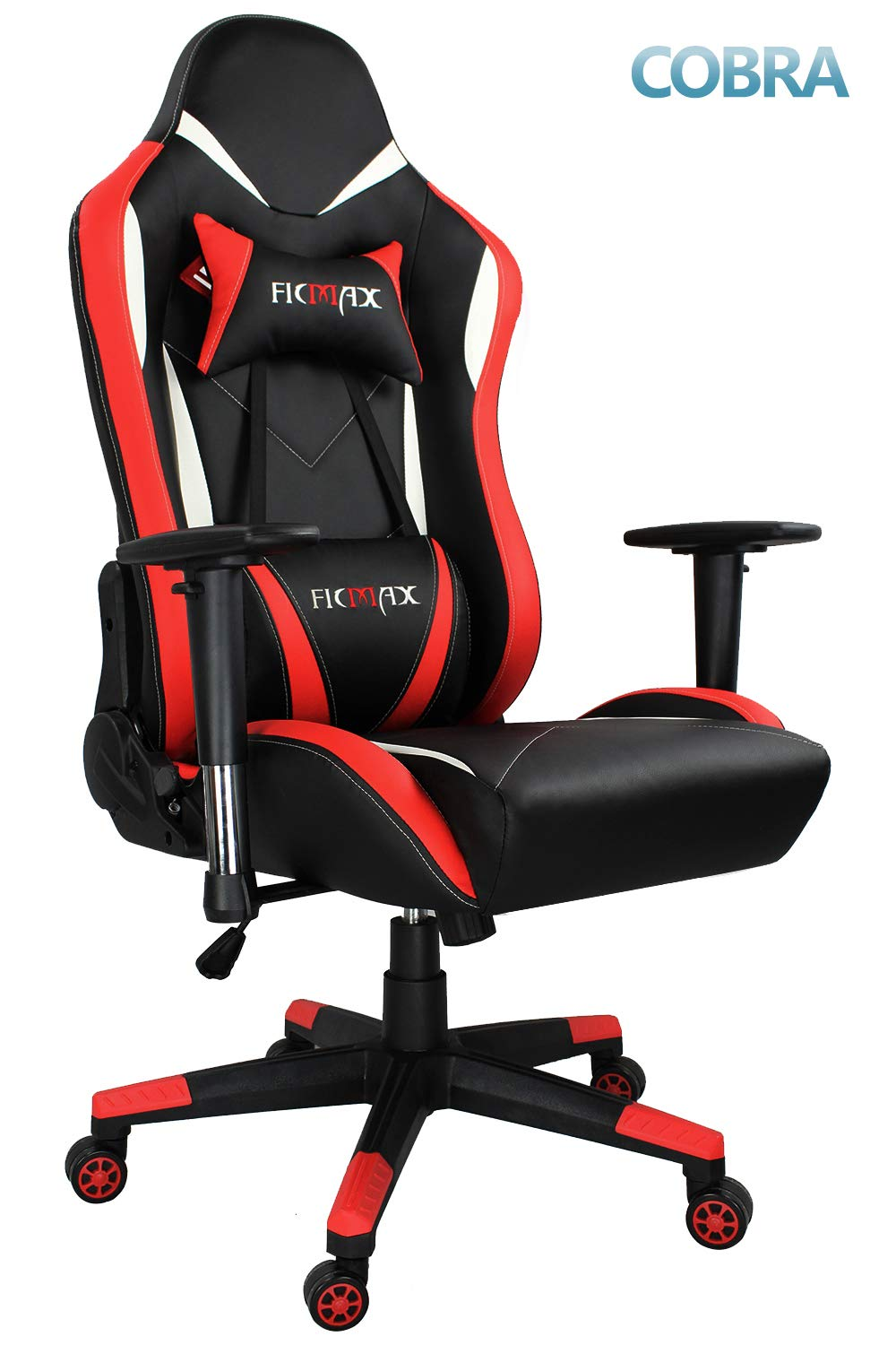 Ficmax Large Size High-Back Ergonomic Gaming Chair Racing Seat with USB Massaging Lumbar Support, Red/Black Ficamx
