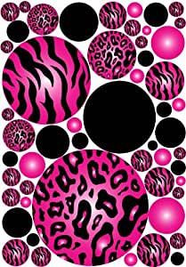 Meduim dots hot pink 3d zebra and leopard print wall stickers home kitchen - Exciting image of home decoration using pink zebra wallpaper ...