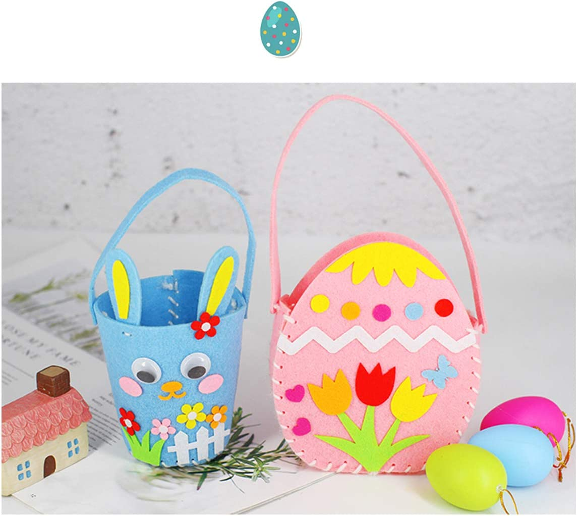 Include 3 Easter Baskets 5 PCS Easter Decorations DIY Craft Felt Sewing Kit for Girls Easter Gifts Toy for Kids to Improve Hands-on Skills Redpigoon Easter Baskets for Kids 2 Bunny Bags