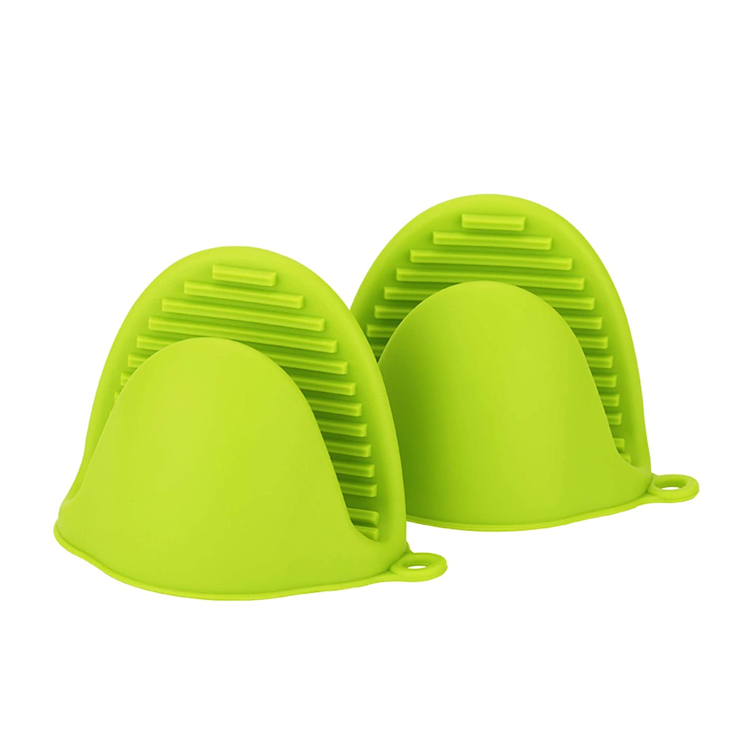2Pcs Set Pinch Mitts Cooking Baking Finger Protector Pinch Grips-Heat Resistant for Instant Pot or Kitchen use as Potholder or Baking Holder (Green)