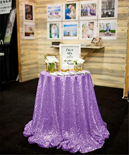 39b953d5070d Image Unavailable. Image not available for. Color  120 quot Round gorgeous  Glitter Sequence lavender Party Table Cover for Wedding Sequin Glitz  Tablecloth