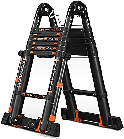 Escalera extensible Escalera telescópica Escalera Telescópica de Aluminio con Barra Estabilizadora, Escalera de Extensión de Marco en a Multiposición Negra, Mighty Plegable Escaleras Telescópicas Prof: Amazon.es: Hogar