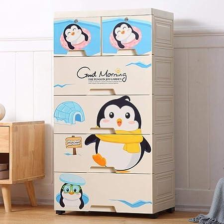 yqtoy Huaer Dibujos Animados Cajones Gabinete De Almacenamiento Juguetes para Bebés Caja De Almacenamiento De Plástico Ropa Interior Caja De Acabado Cómoda Cajonera-Pingüino_5 Pisos: Amazon.es: Hogar