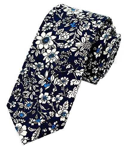 Linen Tie Cotton (Secdtie Men's Skinny Tie Fashion Causal Cotton Floral Printed Linen Necktie MK06)