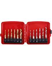 12pcs M3-M10 Hex Shank Titanium Plated HSS Screw Thread Metric & Inch Tap Drill Bits with Red Case