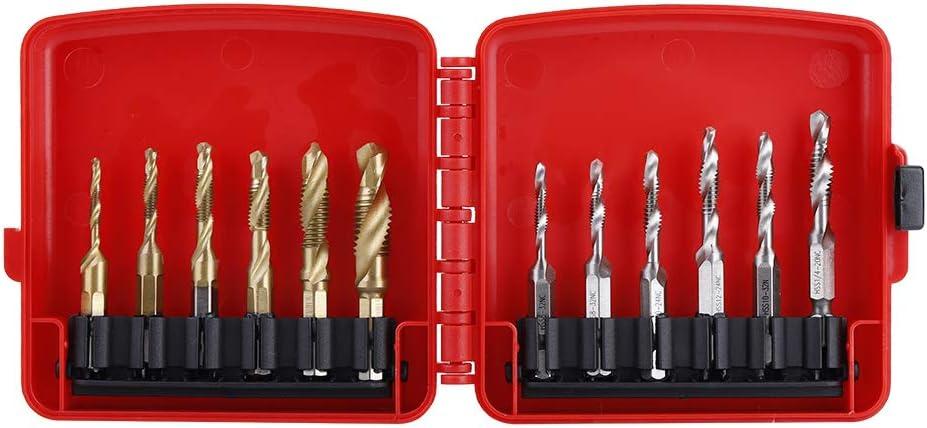 Akozon 12pcs M3-M10 Hex Shank Titanium Plated HSS Screw Thread Metric /& Inch Tap Drill Tap Set