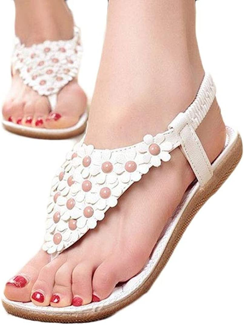 Sandalias de Verano para Mujer,Sonnena Peep-Toe Zapatos Bajos Sandalias Romanas Chanclas de Damas Plano Talla Grande Bohemia Dulce con Agujeros Sandalias Casuals de Playa