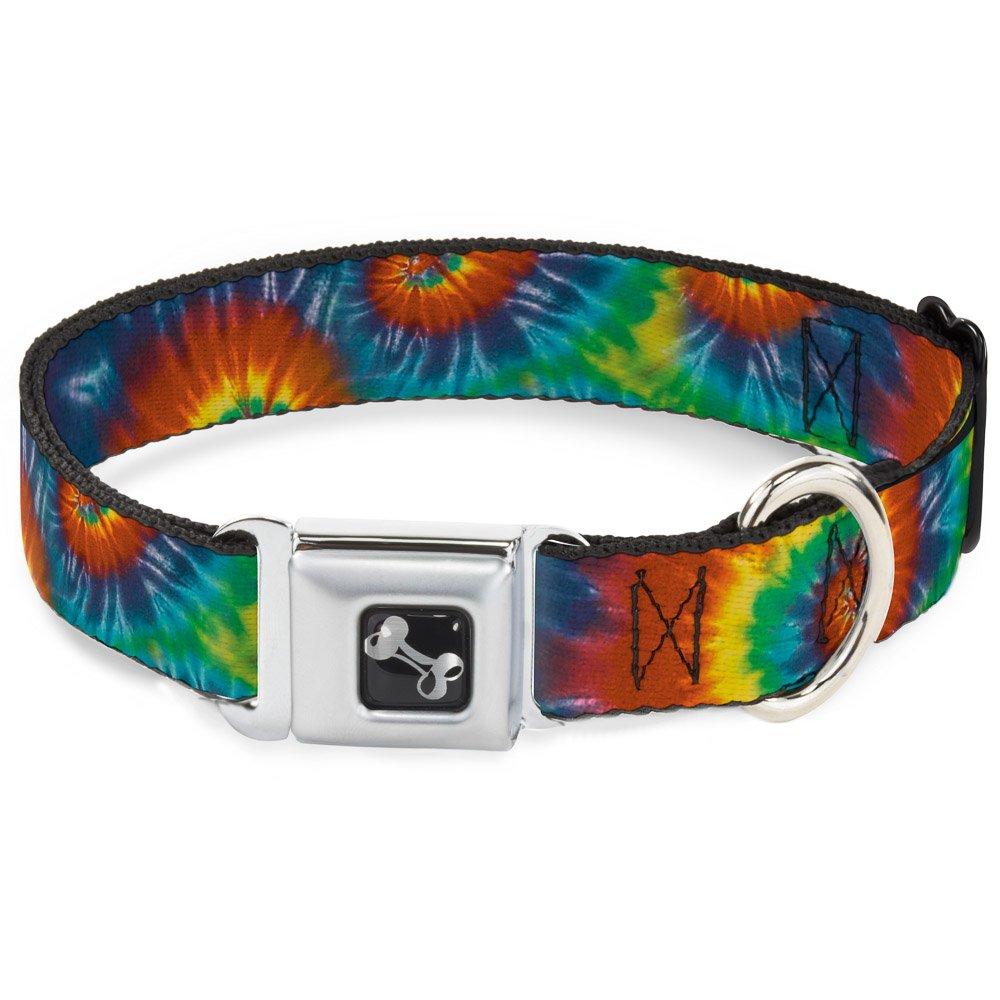 Buckle-Down Seatbelt Buckle Dog Collar Tie Dye Swirl Multi color 1  Wide Fits 15-26  Neck Large