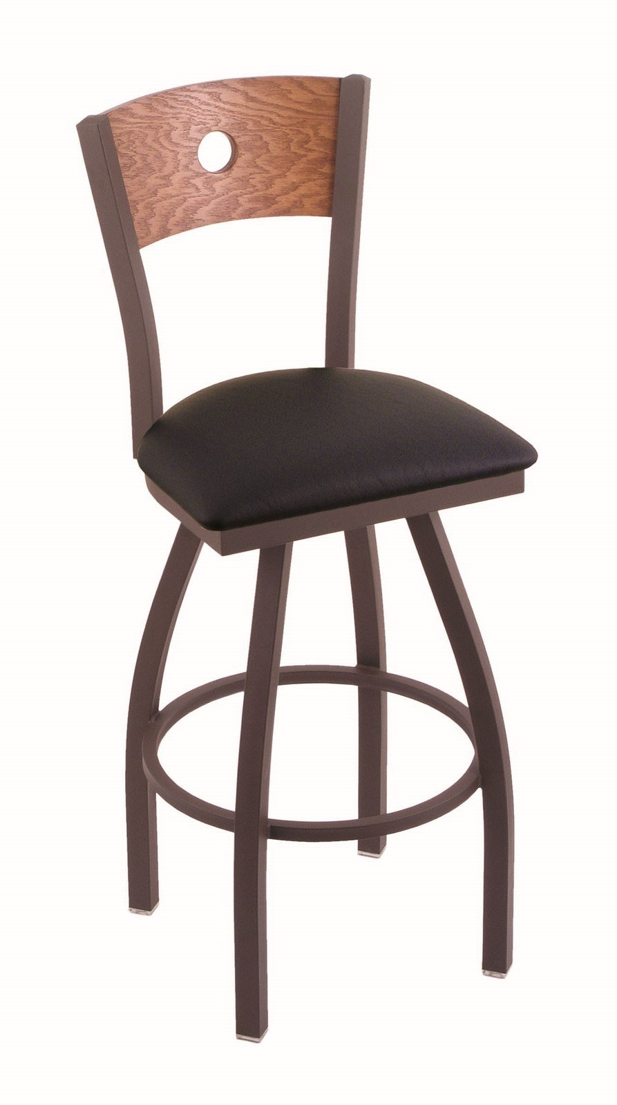 Holland Bar Stool Co. 830 Voltaire 25'' Counter Stool with Bronze Finish, Medium Oak Back and Swivel Seat, Black Vinyl by Holland Bar Stool Co.