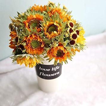 Amazon Yjbear Diy Artificial Silk Orange Yellow Sunflower