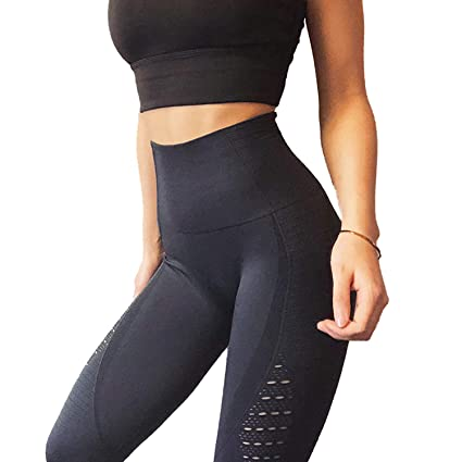 5725988ddd49d RIOJOY Yoga Pants for Women Seamless Hollow Out Elastic Waist Tummy Control  Stretchy Pants Fitness Leggings