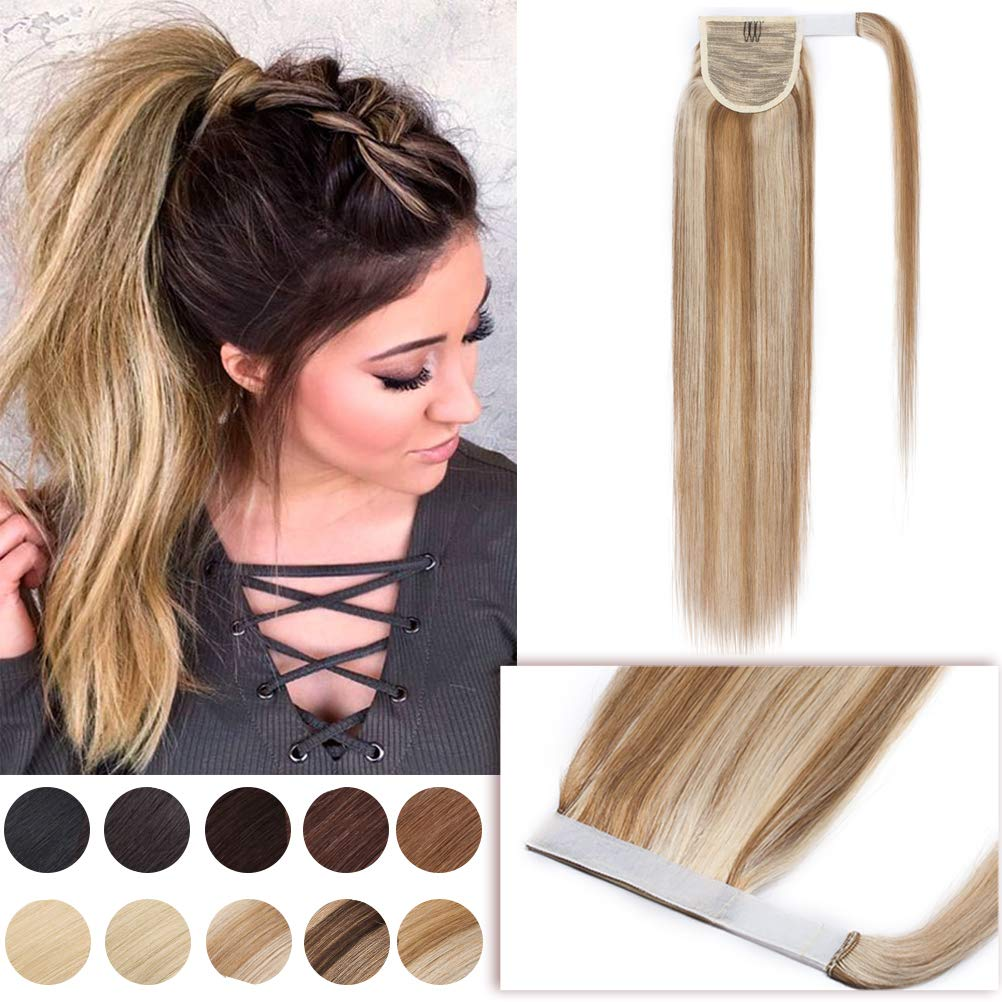 Wrap Ponytail Extensions Remy Human Hair Highlight Magic Paste Wrap Around Pony Tail Hairpiece for Women 16 Inch One Piece #12/613 Golden Brown Mix Bleach Blonde by Hairro