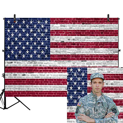 Allenjoy 7x5ft Independence Day Brick Wall American Flag Photography Backdrop Patriotic 4th of July Banner Memorial US Flag National Veterans Day Background Portrait Photo Studio Booth (Americas Best Event Photography)