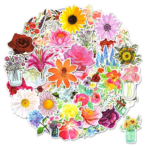 50pcs Flower Stickers for Scrapbook, Waterproof Stickers for Laptop, Trendy Vinyl Stickers for Water Bottles, [Flower Blooming] Sticker Pack Decals for Phone Case, Scrapbook, Adults, Girls