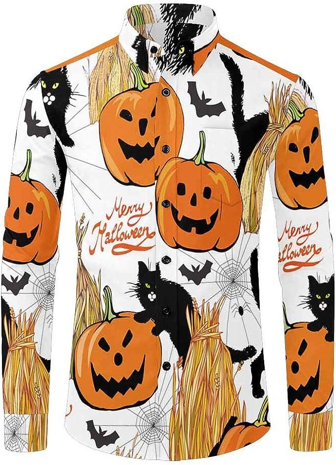 INTERESTPRINT Mens Button Down Baseball Jersey Cats Pattern Background