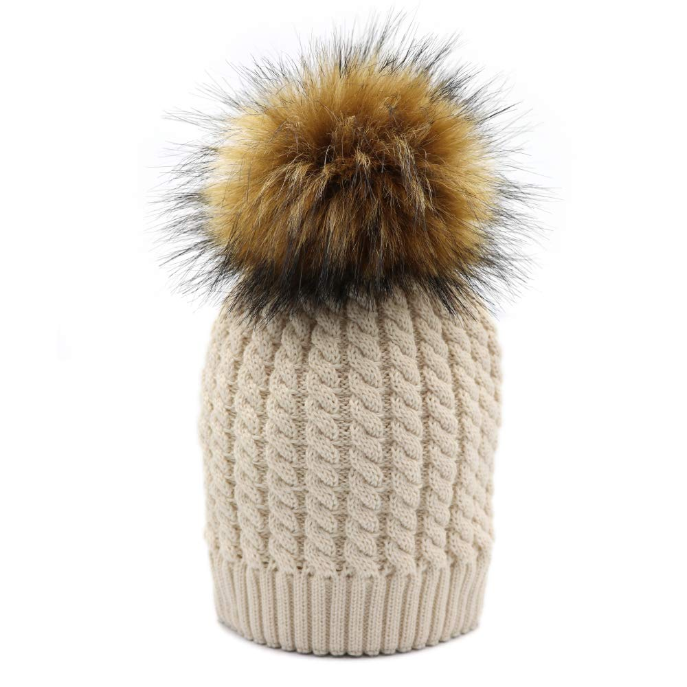 f078b3d04d10 Lvaiz Womens Winter Knitted Crochet Pom Beanie Faux Fur Raccoon Pom Pom Hat  Knit Bobble Hat Ski Cap for Girls Beige
