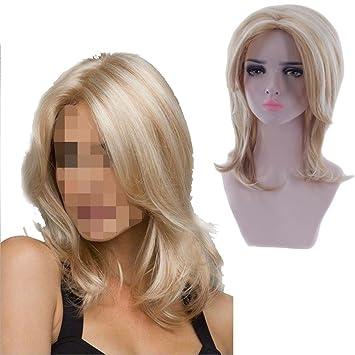 QF 30cm Señora Gold Short Curly Pelucas Parte Pelucas Cosplay Pelucas sintéticas de Halloween