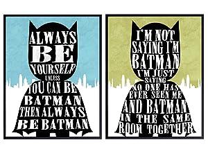 Funny Batman Poster Set - 8x10 Superhero Room Decoration, Wall Art Decor for Kids, Boys, Toddlers Bedroom, Nursery - Gift for Justice League, Avengers, DC, Marvel Comic Book Fans - UNFRAMED Print
