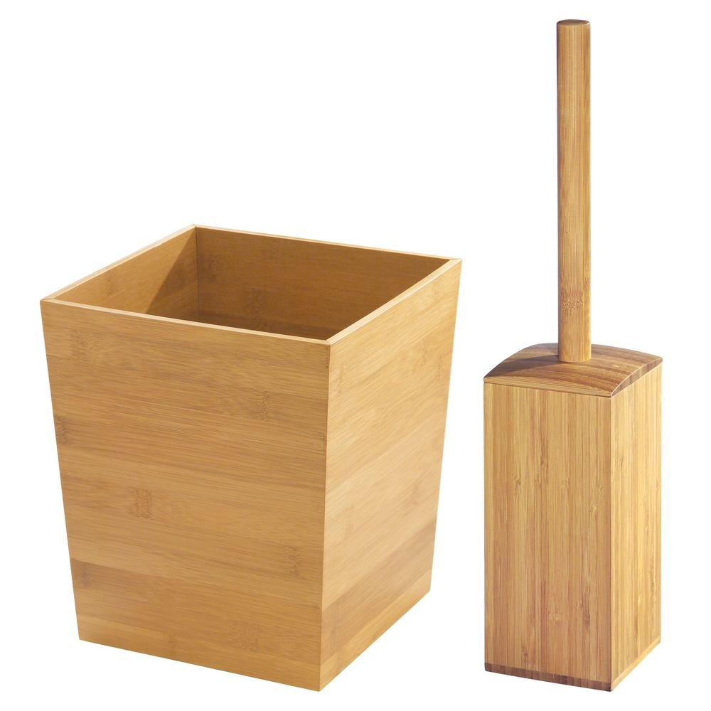 InterDesign Formbu Toilet Bowl Brush and Wastebasket Trash Can for Bathroom - Set of 2, Bamboo