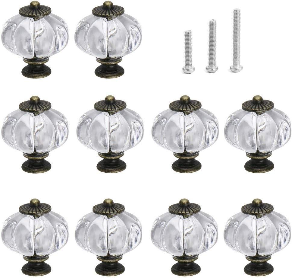 IEIK Acrylic Pumpkin Knobs, Clear Cabinet knobs Set of 10 Vintage Decorative Handles Pulls for Doors, Closet, Drawers, Dresser, Cupboard, Kitchen Furniture or Kids Room