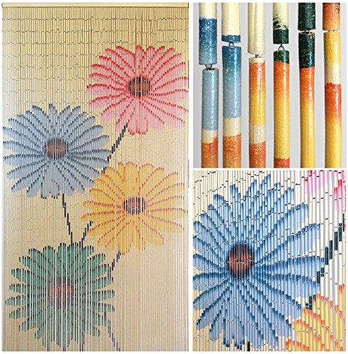 Hand Painted Wood Beads (BeadedString Bamboo Beaded Curtain-Hand Painted Natural Bamboo Wood Beaded Door Beads-Doorway Curtain-35.5