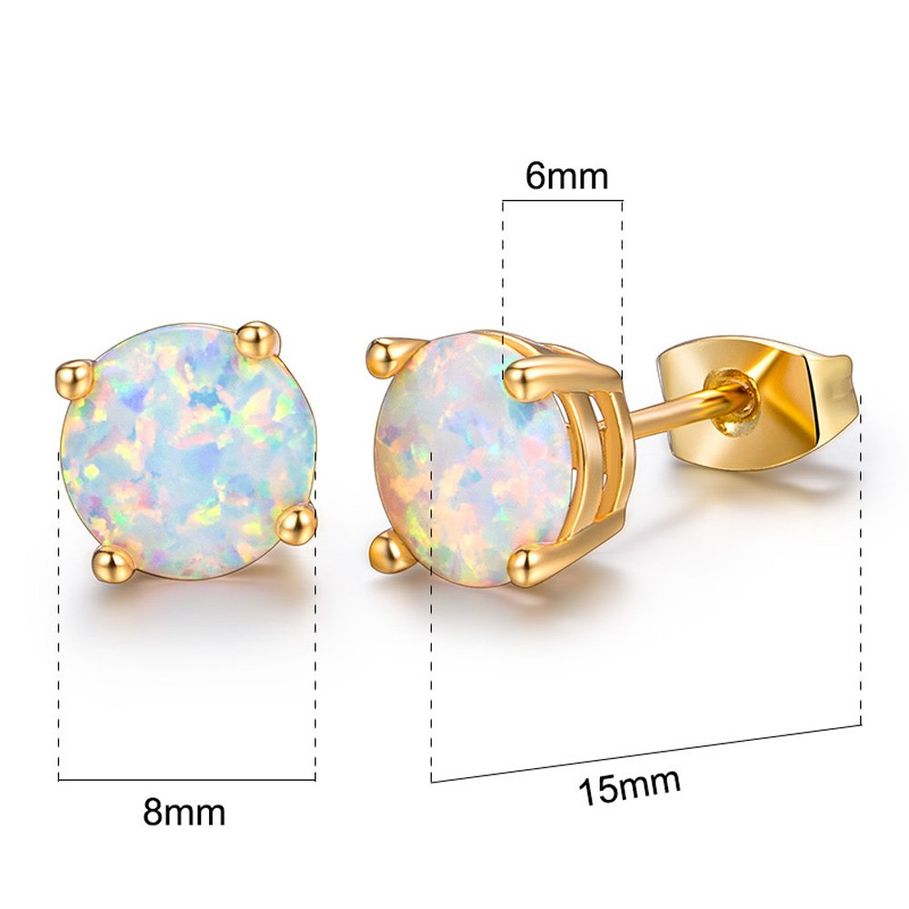 Hello Spring 18K Gold Plated Round Opal Stud Earrings For Women Girls 8MM